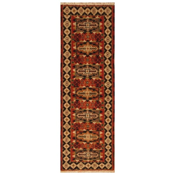 Handmade Herat Oriental Indo Hand-knotted Tribal Kazak Wool Runner (2' x 6'4) - 2' x 6'4