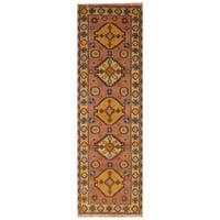 Handmade Herat Oriental Indo Hand-knotted Tribal Kazak Wool Runner (India)