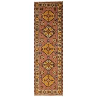 Handmade Herat Oriental Indo Hand-knotted Tribal Kazak Wool Runner (2'2 x 6'1) (India)