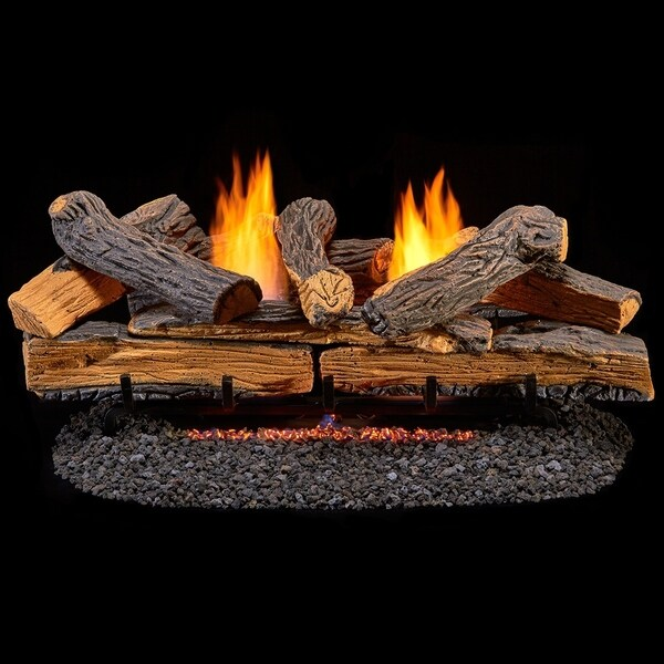 Duluth Forge Ventless Dual Fuel Log Set - 30 in. Stacked Red Oak - 33,000 BTU - T-Stat Control