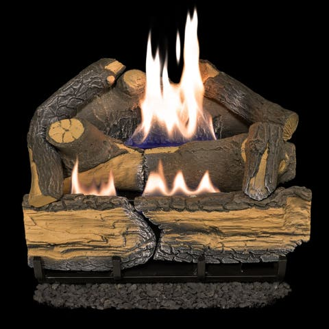 Cedar Ridge Hearth Recon 18-in 30,000-BTU Dual-Burner Ventless Gas Fireplace Logs with Thermostat R-CRHD18T-R