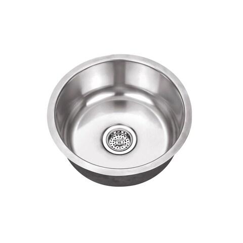 Undermount 17-1/8 in. Single Bowl Round Stainless Steel Bar Sink