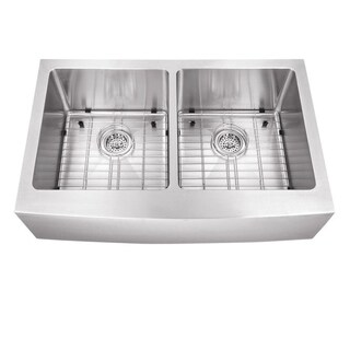 Undermount 32-7/8 in. 50/50 Bowl Apron Front Stainless Steel Kitchen Sink
