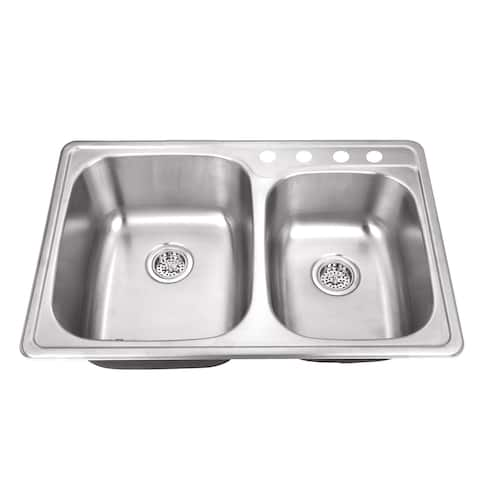 Drop-In 33-1/8 in. 60/40 Bowl Stainless Steel Kitchen Sink