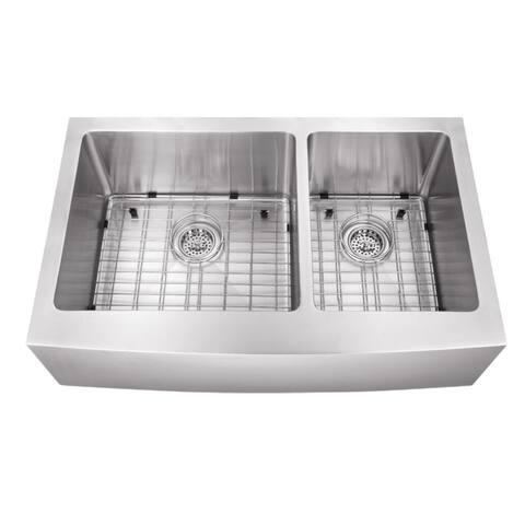 Undermount 35-7/8 in. 60/40 Bowl Apron Front Stainless Steel Kitchen Sink