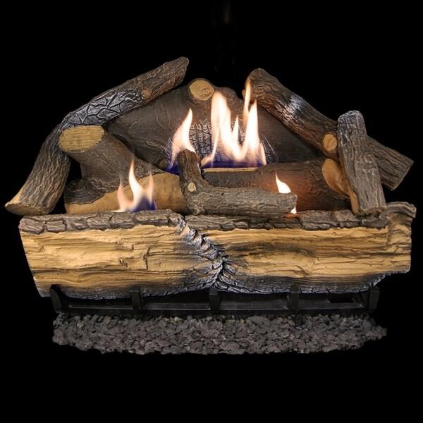 Cedar Ridge Hearth Recon 24-in 32,000-BTU Dual-Burner Ventless Gas Fireplace Logs with Thermostat R-CRHD24T