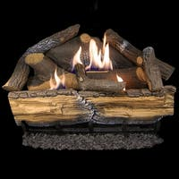 Cedar Ridge Hearth Recon 24-in 32,000-BTU Dual-Burner Ventless Gas Fireplace Logs with Thermostat R-CRHD24T