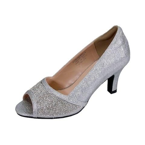 bc8b57867 Floral Noemi Women Extra Wide Width Rhinestone Jewels Dress Heel Pumps