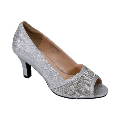 Floral Noemi Women Extra Wide Width Rhinestone Jewels Dress Heel Pumps