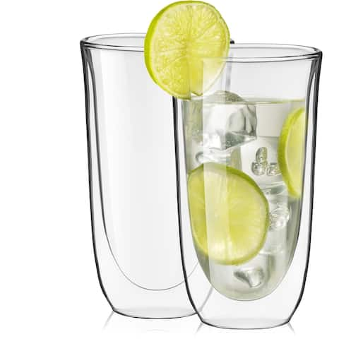 JoyJolt Spike Double Wall Glasses, 13.5 Ounce Cocktail Drinkware Glass set of 2