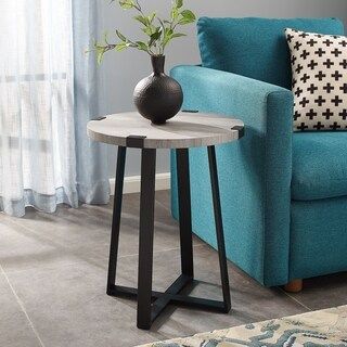 18 Inch Urban Metal Wrap Round Side Table