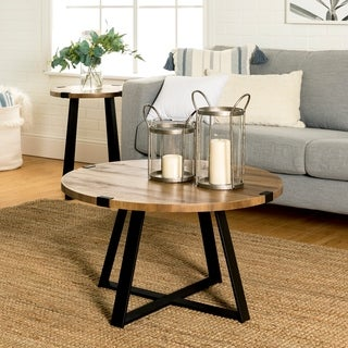 Carbon Loft 31-inch Barnett Round Coffee Table, Modern Metal Wrap Accent Cocktail Table for Living Room - 31 x 31 x 17h