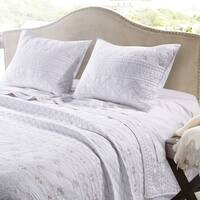 Greenland Home Fashions Milano White Cotton Quilt Set