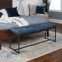 48 Inch Transitional Upholstered Bench with Metal Base