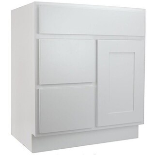 "Cabinet Mania White Shaker Kitchen Cabinet Bathroom Vanity Sink Base Cabinet w/ 2 Drawers Left 30"" W x 21"" D x 34.5"" H"