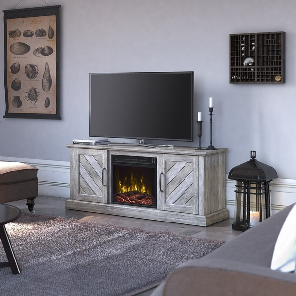 """Belcrest Fireplace TV Stand for TVs up to 60"""", Valley Pine - 56 inches in width"""