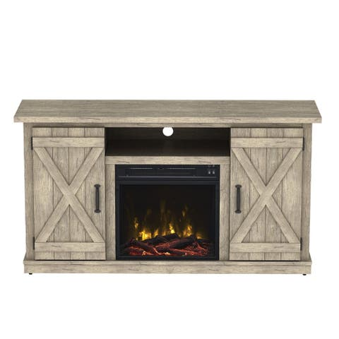 """Cottonwood Fireplace TV Stand for TVs up to 55"""", Ashland Pine - 47.5 inches in width"""