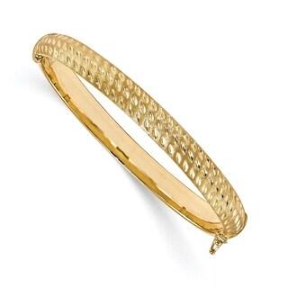 14 Karat Polished Diamond Cut Scratch-finish Hinged Bangle, by Versil - Yellow