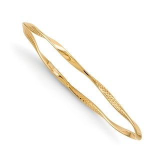 14 Karat Polished and Textured Twisted Slip-on Bangle, by Versil - Yellow