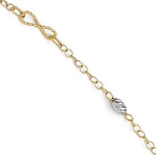 14 Karat Two-tone Polished and Diamond-cut Bracelet, by Versil