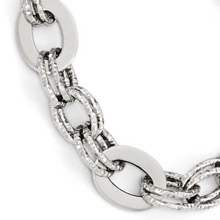 14 Karat White Gold Polished Diamond Cut Bracelet, by Versil