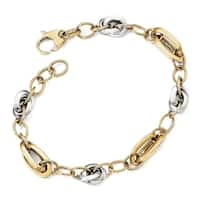 14 Karat Two-tone Polished Fancy Link 8in Bracelet, by Versil