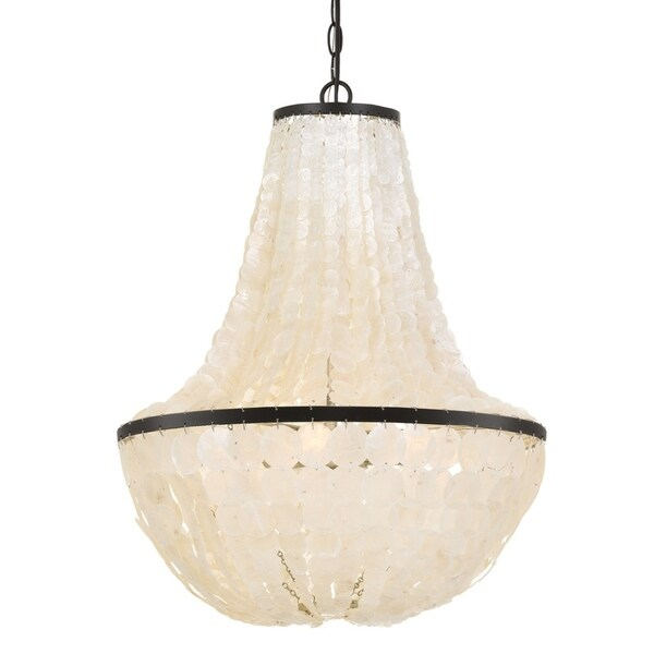 shop elight design coastal 6 light bronze capiz shell chandelier