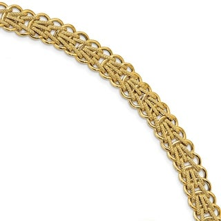 14 Karat Polished & Textured Fancy Link Bracelet, by Versil - Yellow