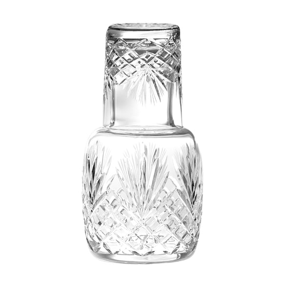 "Majestic Gifts European Hand Cut Crystal 25 Oz. Bedside Night Carafe/ Desktop Carafe W/ Tumbler Glass-8.25"" Height"