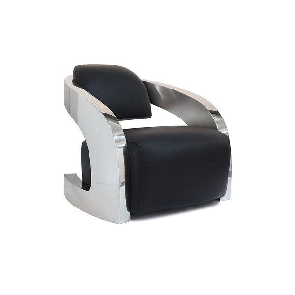 Infinity Cowhide Leather Chair With Stainless Steel Armrests