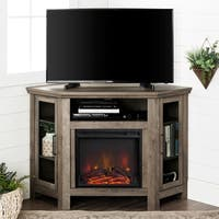 48 Inch Wood Corner Fireplace Media  TV Stand Console
