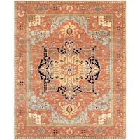 Pasargad Serapi Collection Rust Hand-Knotted Wool Area Rug (9 ' x 12') - 9' x 12'