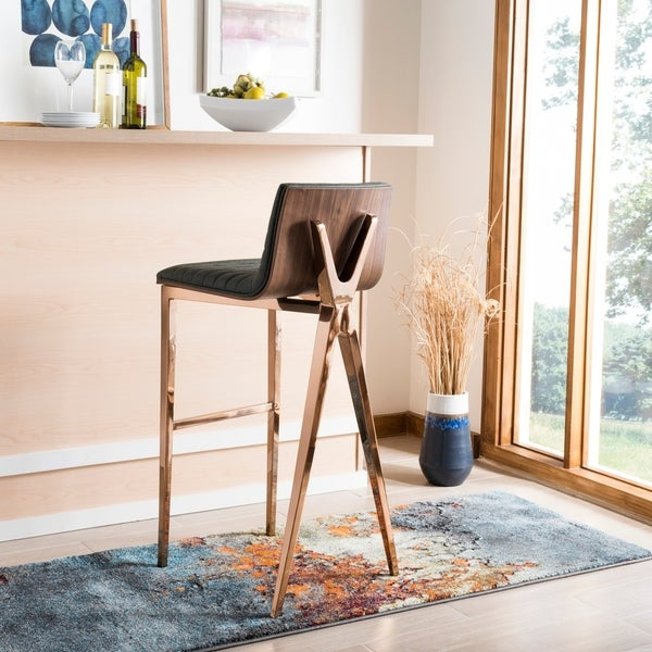 "Safavieh 28.3 -inch Mckay Ash Green/ Copper Barstool - 16.5"" x 18"" x 39"" - 16.5"" x 18"" x 39"". Opens flyout."