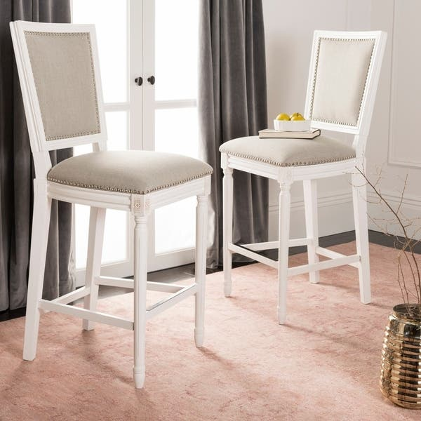 Astonishing Safavieh 30 Inch Buchanan Light Grey Cream Rectangular Bar Stool Set Of 2 23 5 X 19 3 X 47 3 Gmtry Best Dining Table And Chair Ideas Images Gmtryco