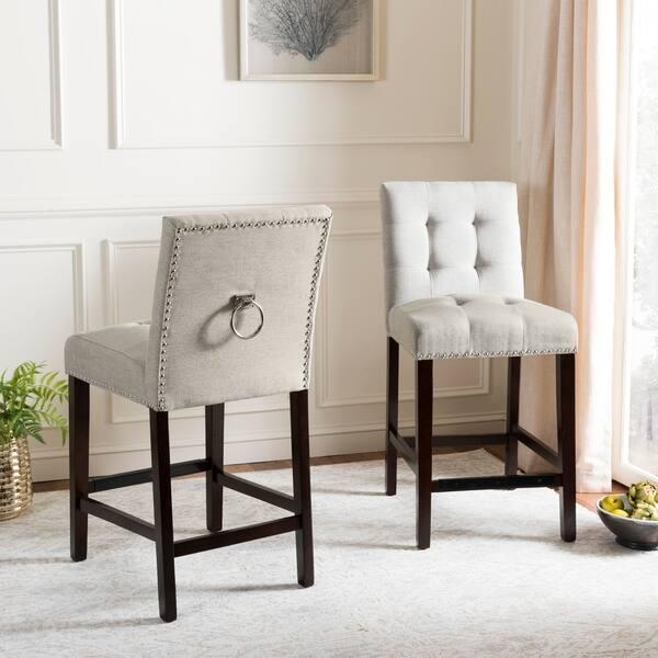 Remarkable Shop Safavieh 26 5 Inch Nikita Light Grey Espresso Tufted Lamtechconsult Wood Chair Design Ideas Lamtechconsultcom