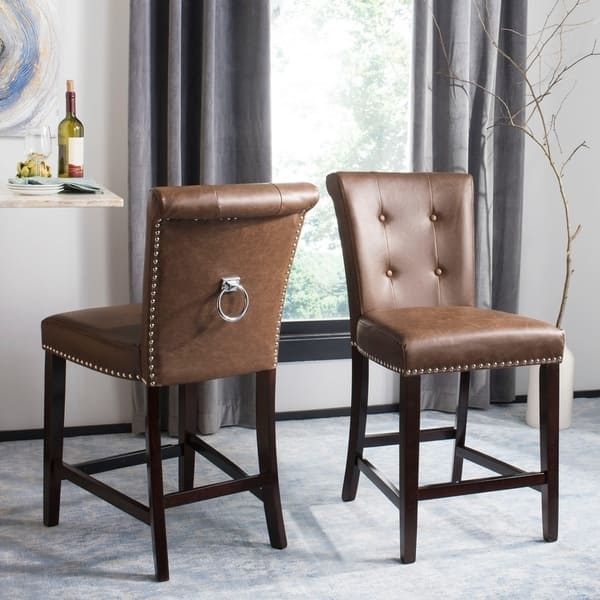 Surprising Shop Safavieh 26 Inch Taylor Brown Espresso Tufted Counter Bralicious Painted Fabric Chair Ideas Braliciousco