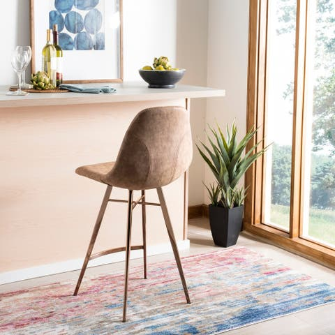 """Safavieh 25- Inch Mathison Brown/ Copper Counter Stool - 17"""" x 19"""" x 39"""""""