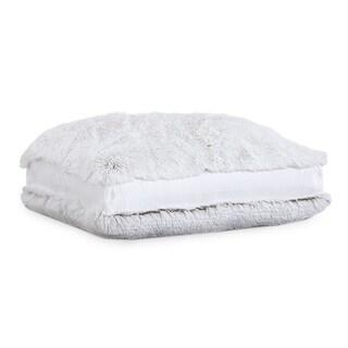 Polar Pouf - Floor Square / White, Faux Fur Pouf with Poly Fill