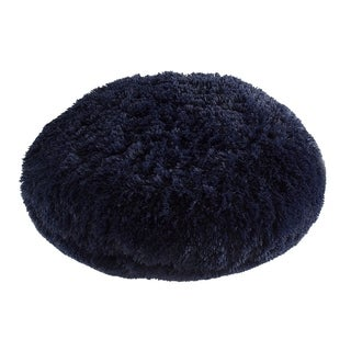 Polar Pouf - Round / Navy, Faux Fur Floor Pouf with Poly Fill