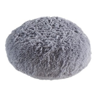 Polar Pouf - Round Grey, Faux Fur Floor Pouf with Polyester Fill