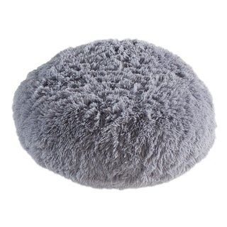 Polar Pouf - Round / Grey, Faux Fur Floor Pouf with Poly Fill