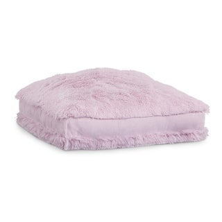 Polar Pouf - Floor Square / Light Pink , Faux Fur Pouf with Poly Fill