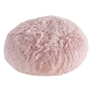Polar Pouf - Round Light Pink, Faux Fur Floor Pouf with Polyester Fill