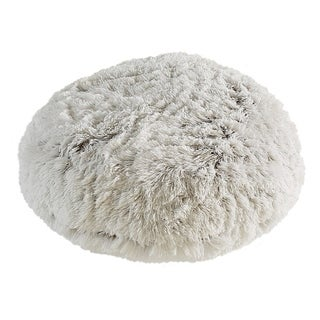 Polar Pouf - Round / White, Faux Fur Floor Pouf with Poly Fill