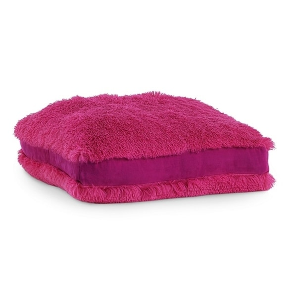 Polar Pouf - Floor Square / Hot Pink, Faux Fur Pouf with Poly Fill