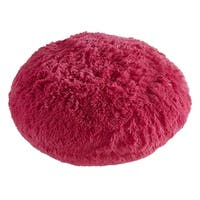 Polar Pouf - Round | Hot Pink, Faux Fur Floor Pouf with Polyester Fill