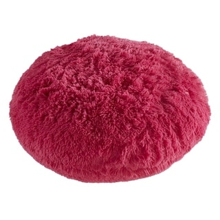 Polar Pouf - Round / Hot Pink, Faux Fur Floor Pouf with Poly Fill