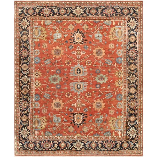 Pasargad Serapi Rust/Navy Hand-Knotted Wool Area Rug (6' x 9') - 6' x 9'