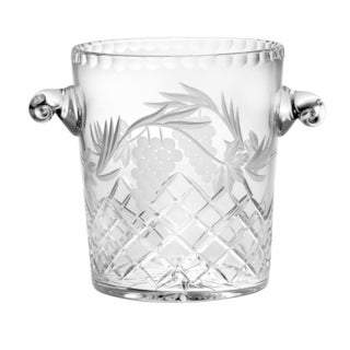 "Majestic Gifts Hand Cut- Mouth Blown Crystal Ice Bucket/ Ice Cooler-8.25"" Height- Made in Europe"