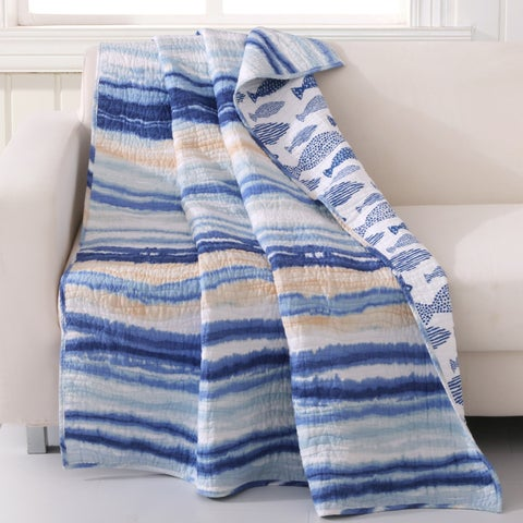 Crystal Cove Blue Beach Life Quilted Throw
